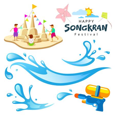 태국 디자인 배경의 서명 송크란 축제 일러스트