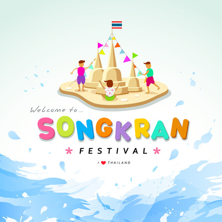 Songkran festival of Thailand design water background