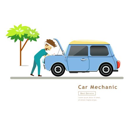 industrial vehicle: Car Mechanic workers in blue car service engine vector Illustration