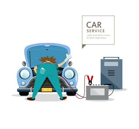 industrial vehicle: Car Mechanic workers in blue car service engine, with car battery