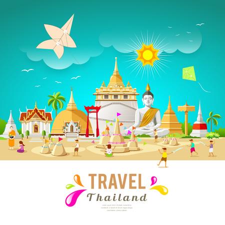 タイ旅行建物とソンクラーン祭夏デザインのランドマーク。  イラスト・ベクター素材