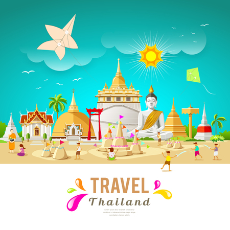 Thailand travel building and landmark in songkran festival summer design. Vettoriali