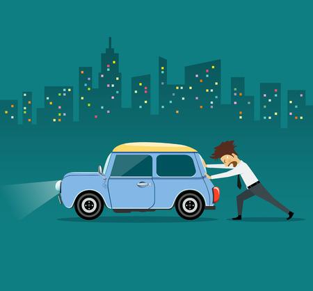 Hombre de negocios empujando coche, el coche pierde aceite