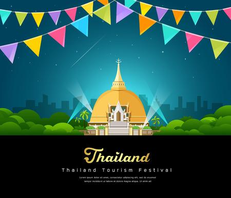 Vector thailand tourist landmark worshipers on important buddhist