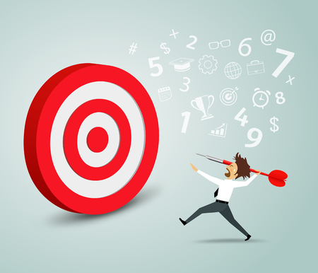 target arrow: Businessman trying to hit a target with a dart Illustration