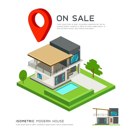 modern house: Modern house isometric with red point map