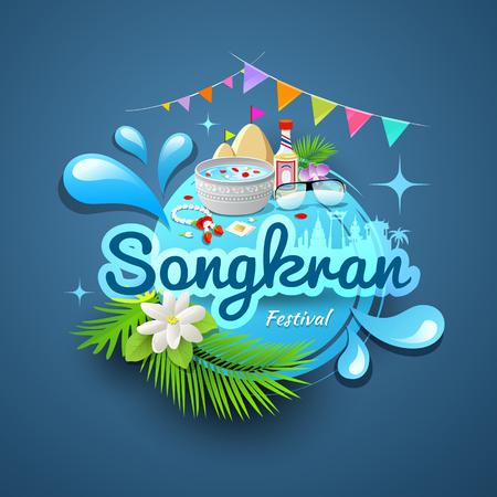massage symbol: Songkran festival of Thailand logo design