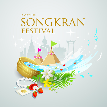 Songkran festival water splash of Thailand Illustration