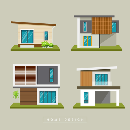 office building: Home exterior modern design collections, vector illustration Illustration