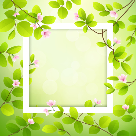 green environment: Pink flower and leave with white frame, vector