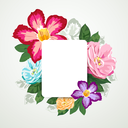 Beautiful flora with white paper card isolated design background, vector
