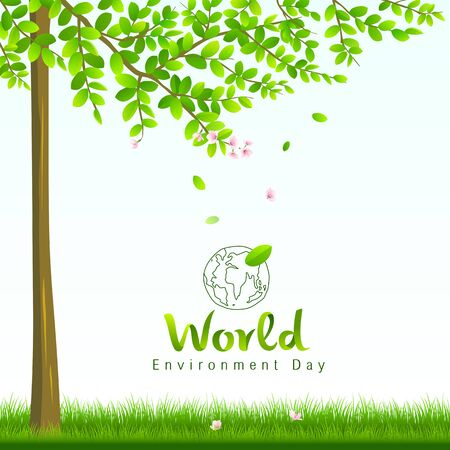 cover: World environment day, tree and flower nature concept Illustration