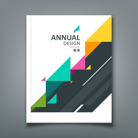 rainbow: Cover annual report colorful paper triangle, abstract design background, vector