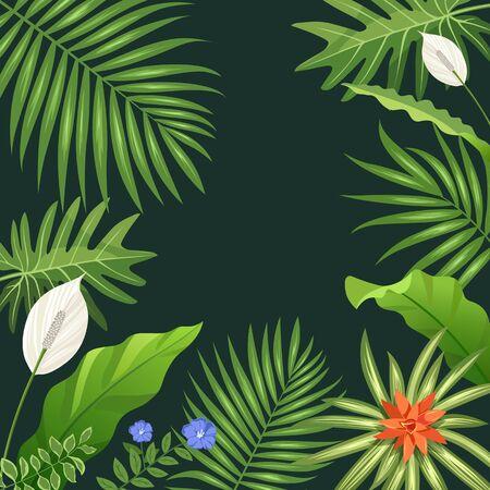 Tropical green leaf and flower background, vector illustration Illustration