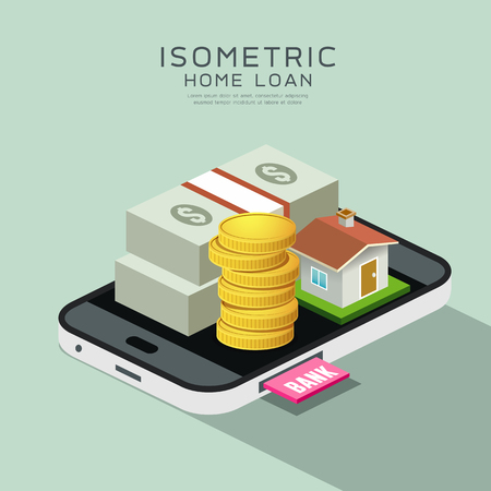 Vector Isometric home and money on mobile phone, home loan concept