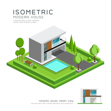 office building: Modern home isometric with lawn design background. Illustration