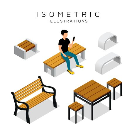Vector isometric wooden bench collection with man shirt black vector