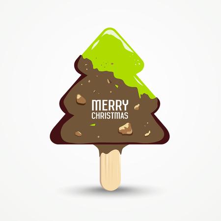 Glücklicher Eiscreme-Designhintergrund der frohen Weihnachten, Vektorillustrationen