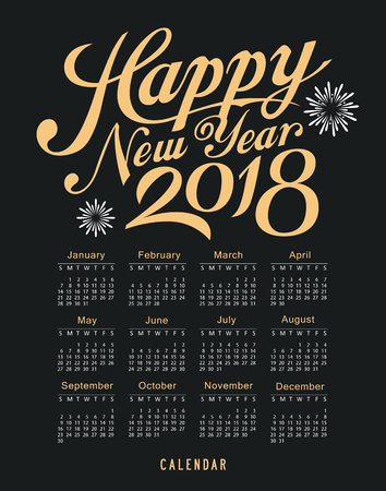 Calendar happy new year 2018 message black and gold template design background, vector