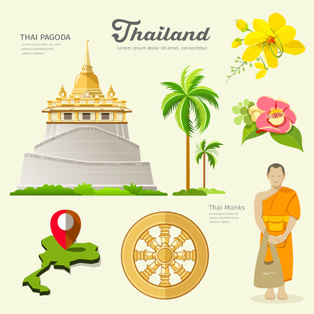 Pagoda and monks with flower collections of Thailand. vector illustration