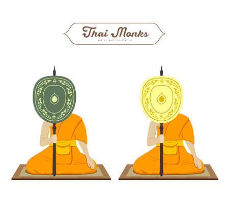 Thai monks holding talipot fan, collections. vector illustration