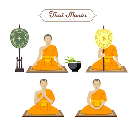 Thai monks action collections. vector illustration