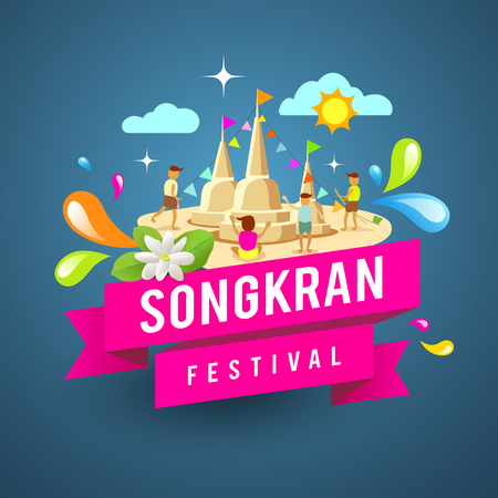 Amazing songkran festival of Thailand on blue background, vector illustration
