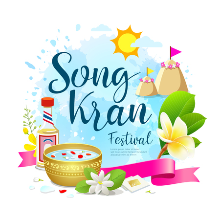 Amazing Thailand festival design on water blue background, vector illustration