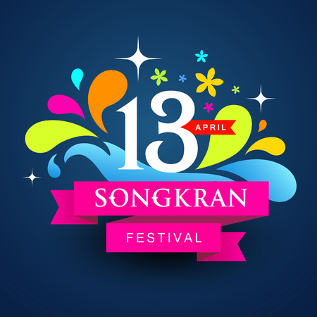 Vector logo songkran festival colorful water of Thailand design background.