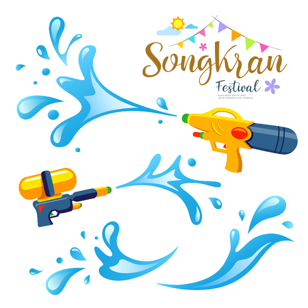 Vector sign songkran festival and water collections of Thailand design background.