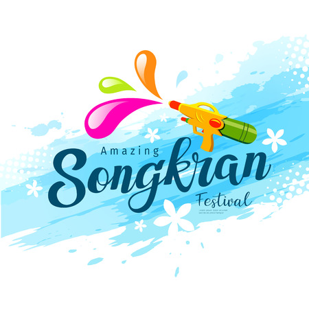 Vector amazing songkran festival with water gun of Thailand on water background.