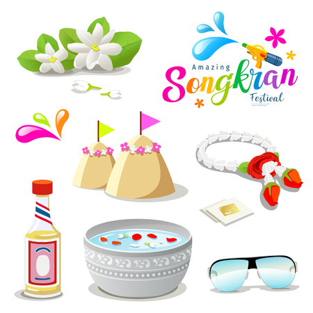 Amazing Thailand Songkran festival collections background, vector illustration Illustration