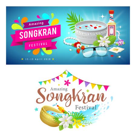 Amazing Thailand Songkran festival banner set, vector illustration