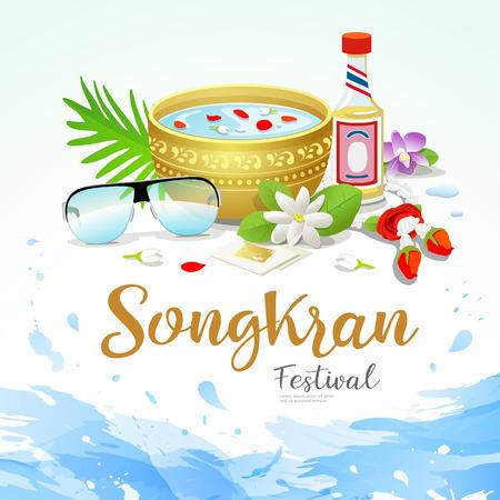 Songkran festival poster with water splash background