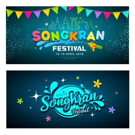 Amazing Songkran festival banners collections, vector illustration
