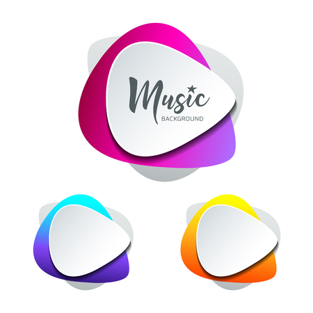 Vector white paper shape guitar pick colorful background with text space