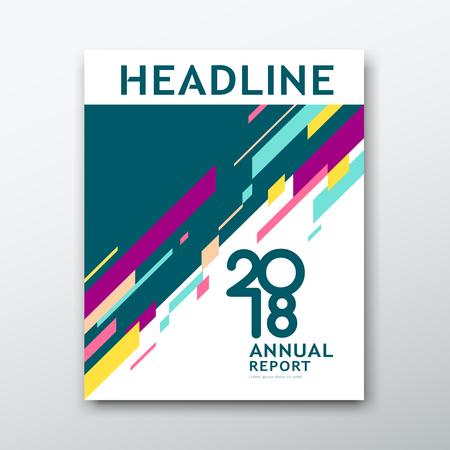 Couvrir le rapport annuel abstrait géométrique coloré sur fond de livre blanc, illustration vectorielle Vecteurs