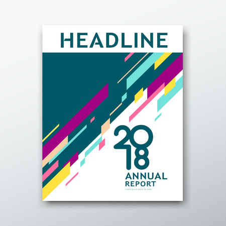 Cubrir el informe anual Resumen geométrico colorido sobre fondo de libro blanco, ilustración vectorial Ilustración de vector