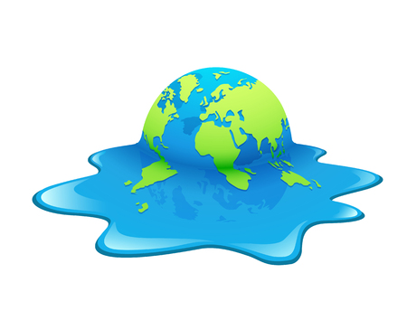 Melting Earth. Concept global warming, green and blue world ,vector illustration.