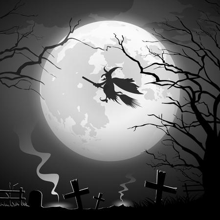 Halloween party concept scary design background, vector illustration Ilustração