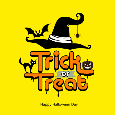 Trick or treat message hat, pumpkin, cat, bat design happy Halloween day