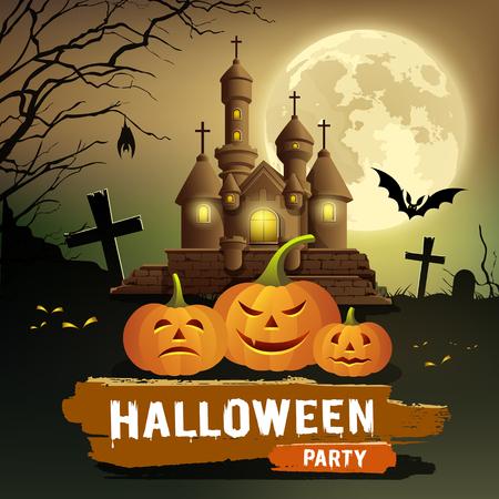 Happy Halloween party message, pumpkin, bat design concept