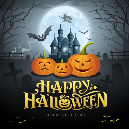 Happy Halloween gold message, pumpkin bat, witch, castle Ilustração