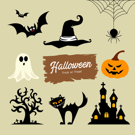 Happy Halloween collection, vector illustrations
