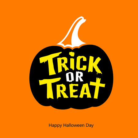 Happy Halloween Trick or treat message black pumpkin on orange background