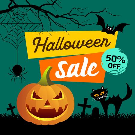 Happy Halloween Sale presentation concept