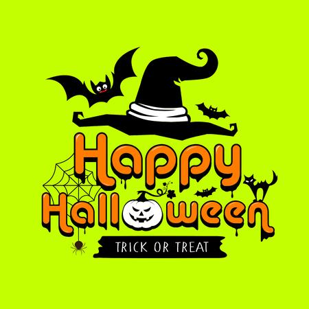 Happy Halloween colorful design on lemon green background, vector illustration Ilustração