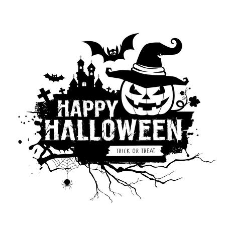 Happy Halloween black and white message, pumpkin hat, bat, castle design Ilustração