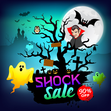 Happy Halloween Dracula and Ghost shock sale concept design on tree background, vector illustration