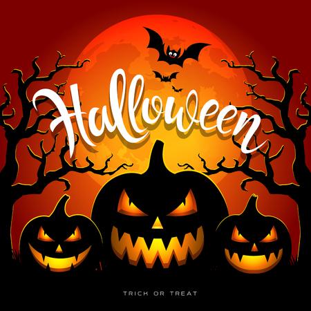 Happy Halloween full moon three pumpkins, bat, tree, on orange background